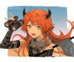 1girl ahoge arknights binoculars black_gloves border braid chinese_commentary cow_horns croissant_(arknights) croissant_(seeker)_(arknights) elbow_gloves ershuihe fang fingerless_gloves floating_hair gloves goggles goggles_around_neck green_eyes grey_neckwear hand_up highres holding holding_binoculars horns long_hair looking_at_viewer official_alternate_costume open_mouth orange_hair portrait solo v-shaped_eyebrows white_border