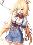 1girl ;d absurdres akai_haato bangs blonde_hair blue_eyes blush breasts cowboy_shot eyebrows_visible_through_hair green_eyes hair_ornament hair_ribbon hand_up heart heart_hair_ornament heart_in_mouth high-waist_skirt highres holding holding_ladle hololive huge_filesize ladle long_hair looking_at_viewer medium_breasts neck_ribbon one_eye_closed one_side_up open_mouth red_neckwear red_ribbon ribbon shirt short_sleeves skirt smile solo standing very_long_hair virtual_youtuber white_background white_shirt xiho_(suna)