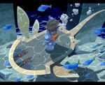 1boy air_bubble android animal arm_at_side armor backpack bag blue_footwear blue_gloves boots brown_hair bubble commentary_request fish from_behind full_body gloves hand_up letterboxed male_focus mandomantal_(mega_man) mega_man_(series) mega_man_legends mega_man_legends_2 mega_man_volnutt napo red_eyes shadow short_hair spiky_hair standing swimming underwater