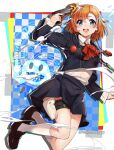 1girl :d blue_eyes blush bow commentary_request cosplay gekkoukan_high_school_uniform gun hair_bow hair_ornament hair_ribbon hat highres holding holding_gun holding_weapon jack_frost kousaka_honoka looking_at_viewer love_live! love_live!_school_idol_project nakano_maru one_side_up open_mouth orange_hair persona persona_3 ribbon school_uniform shiomi_kotone shiomi_kotone_(cosplay) skirt smile smoke solo weapon white_background