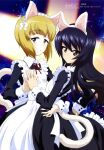 2girls absurdres animal_ears apron bangs black_hair blonde_hair brown_eyes cat_ears closed_mouth cutlass_(girls_und_panzer) eyebrows_visible_through_hair fake_animal_ears fake_tail girls_und_panzer hand_on_another's_waist highres long_hair long_sleeves looking_at_viewer maid maid_apron maid_headdress megami_magazine multiple_girls night night_sky official_art parted_lips red_neckwear reizei_mako scan short_hair sky spotlight star_(sky) tail wang_guo_nian yellow_eyes