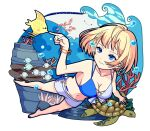 1girl air_bubble bangle bare_legs barefoot belly_chain bikini bikini_top blonde_hair blue_eyes blue_nails bracelet breath bubble coral earrings fish freediving highres holding_breath jewelry manta_ray nail_polish ocean official_style original school_of_fish sea_turtle shorts smile swimsuit turtle underwater