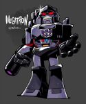 1980s_(style) 1boy arm_cannon cannon chibi clenched_hand evil male_focus mecha megatron open_hand p38 rariatto_(ganguri) red_eyes retro_artstyle shading shading_mismatch shiny symbol transformers twitter_username weapon