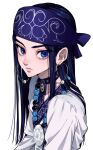 1girl ainu_clothes asirpa bead_necklace beads black_hair blue_bandana blue_eyes choker earrings golden_kamuy highres hoop_earrings jewelry long_hair looking_at_viewer necklace simple_background solo upper_body urkt_10 white_background