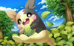 clouds commentary_request day fang gen_8_pokemon hakuginnosora highres holding leaf morpeko morpeko_(full) no_humans open_mouth outdoors pokemon pokemon_(creature) sky smile solo tongue tree