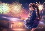 1girl artist_name barefoot beach blue_eyes blue_kimono brown_hair bucket clenched_hand clouds cloudy_sky commentary commentary_request commission english_text eye_reflection eyebrows eyebrows_visible_through_hair festival fireworks geta hair_over_shoulder highres holding holding_fireworks holding_sparkler japanese_clothes kimono long_hair long_sleeves looking_at_viewer night night_sky obi ocean open_mouth original partial_commentary ponytail reflection ribbon sash scenery sebu_illust senkou_hanabi sidelocks sky smile solo sparkler squatting very_long_hair white_ribbon wide_sleeves yukata
