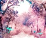 akyuun blurry blurry_background english_commentary engrish_commentary forest highres landscape light_rays nature no_humans original pink_theme runes scenery sign stream sunbeam sunlight tree