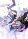 1boy animal_ears cloak commentary_request fate/grand_order fate_(series) floral_background flower hair_over_one_eye holding holding_staff hood hood_up hooded_cloak itefu long_sleeves looking_at_viewer male_focus merlin_(fate) rabbit_ears short_hair simple_background smile solo staff tagme upper_body violet_eyes white_background white_cloak white_flower white_hair