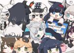 ! 1boy 1other 6+girls :3 :d animal_ear_fluff animal_ears arknights bangs black_cape black_footwear black_gloves black_hair black_jacket blaze_(arknights) blonde_hair blue_eyes boots braid brown_background cabbie_hat cape cat_ears character_request chibi cliffheart_(arknights) closed_mouth colored_eyelashes computer cup doctor_(arknights) error_message eyebrows_visible_through_hair fang fur-trimmed_cape fur_trim gloves green_eyes grey_eyes grey_hair hairband hat hood hood_up hooded_jacket jacket jessica_(arknights) laptop leopard_ears long_hair lying minigirl mousse_(arknights) mug multicolored_hair multiple_girls on_side one_eye_closed open_clothes open_jacket open_mouth parted_lips paw_gloves paws ponytail pramanix_(arknights) purple_hair red_hairband redhead rosmontis_(arknights) shirt shoe_soles silverash_(arknights) simple_background smile someyaya spoken_exclamation_mark streaked_hair sweat thick_eyebrows very_long_hair violet_eyes white_hair white_headwear white_jacket white_shirt