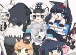 1boy 1other 6+girls :3 :d animal_ear_fluff animal_ears arknights bangs black_cape black_footwear black_gloves black_hair black_jacket blaze_(arknights) blonde_hair blue_eyes boots braid brown_background cabbie_hat cape cat_ears character_request chibi cliffheart_(arknights) closed_mouth colored_eyelashes computer cup doctor_(arknights) error_message eyebrows_visible_through_hair fang fur-trimmed_cape fur_trim gloves green_eyes grey_eyes grey_hair hairband hat hood hood_up hooded_jacket jacket jessica_(arknights) laptop leopard_ears long_hair lying minigirl mousse_(arknights) mug multicolored_hair multiple_girls on_side open_clothes open_jacket open_mouth parted_lips paw_gloves paws ponytail pramanix_(arknights) purple_hair red_hairband redhead rosmontis_(arknights) shirt shoe_soles silverash_(arknights) simple_background smile someyaya streaked_hair sweat thick_eyebrows very_long_hair violet_eyes white_hair white_headwear white_jacket white_shirt