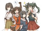 ! 4girls ahoge arm_up arms_behind_back bangs bow_(weapon) braid breasts brown_hair character_name closed_mouth green_hair hair_ribbon hakama hakama_skirt hands_on_hips holding holding_bow_(weapon) holding_weapon hyuuga_(kancolle) japanese_clothes kantai_collection long_hair mido006 multiple_girls muneate open_mouth ribbon sailor_collar school_uniform sendai_(kancolle) serafuku shigure_(kancolle) short_hair simple_background single_braid skirt spoken_exclamation_mark sweat twintails two_side_up weapon white_background zuikaku_(kancolle)
