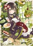 1girl absurdres aoi_yugina apron bangs black_kimono blush brown_eyes brown_hair cake cake_slice cat choker closed_mouth eyebrows_visible_through_hair flower flower_knot food frilled_choker frilled_sleeves frills hair_flower hair_ornament hand_up highres holding japanese_clothes kimono leaf long_hair long_sleeves looking_at_viewer maid maid_apron maid_headdress messy_hair off_shoulder original sidelocks sitting smile solo wa_maid wide_sleeves