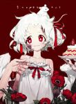 1girl bare_shoulders black_nails bruise bruise_on_face closed_mouth dress feeding fingernails flower fork hair_ribbon hand_up holding holding_fork injury mouse mouse_on_head nail_polish original pigeon666 red_background red_eyes red_flower red_ribbon ribbon smile solo_focus tulip twintails upper_body white_dress white_hair