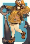 1girl anchor anchor_symbol backpack bag bare_legs bike_shorts black_gloves blue_background brown_eyes brown_hair cabbie_hat dated fingerless_gloves gloves guilty_gear guilty_gear_strive hat highres jacket long_hair may_(guilty_gear) orange_headwear orange_jacket pirate pirate_hat poch4n salute signature skull_and_crossbones smile solo thick_thighs thighs