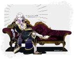 1boy boots card covering_mouth crossed_legs final_fantasy final_fantasy_vi frills full_body jacket jewelry long_hair long_sleeves looking_at_viewer male_focus mizuki_ryou_(holic) pale_skin pants playing_card ring scar scar_on_face setzer_gabbiani sitting smile solo tailcoat white_hair