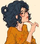 1girl black_eyes black_hair blush elliemaplefox glasses halftone hand_up medium_hair orange_shirt original parted_lips shirt simple_background solo tan_background upper_body