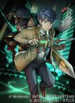 2boys aoi_itsuki armor belt blue_hair chrom_(fire_emblem) cityscape collared_shirt company_name daigoman fire_emblem fire_emblem_cipher holding holding_sword holding_weapon looking_at_viewer multiple_boys necktie night outdoors shirt sword tokyo_mirage_sessions_fe weapon