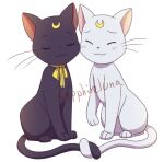animal animal_focus artemis_(sailor_moon) artist_name bishoujo_senshi_sailor_moon black_cat blush bow cat cheek-to-cheek closed_eyes crescent holding_tail intertwined_tails luna_(sailor_moon) necktie raised_eyebrows sapphire_luna simple_background sitting smile tail watermark white_background white_cat yellow_bow