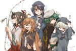5girls ahoge arrow_(projectile) bangs black_hair black_sailor_collar blue_sailor_collar bow_(weapon) breasts broken broken_weapon brown_hair cape character_name closed_eyes dirty dress frown glasses gloves green_hair hachimaki hat headband heterochromia holding holding_arrow holding_bow_(weapon) holding_weapon japanese_clothes kantai_collection kiso_(kancolle) long_hair long_sleeves mido006 mochizuki_(kancolle) multiple_girls open_mouth ponytail sailor_collar sailor_dress school_uniform short_hair silver_hair simple_background takao_(kancolle) tears torn_clothes torn_hat upper_body weapon white_background z1_leberecht_maass_(kancolle) zuihou_(kancolle)