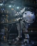3d cable english_commentary gun gundam gundam_wing hangar highres holding holding_gun holding_weapon lights mecha mobile_suit no_humans realistic science_fiction shield stairs standing tallgeese visor weapon yuki.o.3dcg