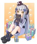 1girl absurdres animal black_ribbon blush box cat covering_mouth eyebrows_visible_through_hair facial_hair full_body gift gift_box girls_frontline green_eyes hair_ornament hair_ribbon hairband hat highres hk416_(girls_frontline) holding holding_animal holding_cat long_hair long_sleeves looking_at_viewer meatbandit mini_hat official_alternate_costume paw_print paw_print_background ribbon silver_hair socks solo younger