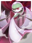 closed_mouth commentary_request dynamax from_below gardevoir gen_3_pokemon glowing highres outstretched_arms pokemon pokemon_(creature) red_eyes shabana_may smile smoke solo
