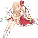 1girl absurdres ahoge blonde_hair blush bow dress flandre_scarlet frilled_dress frills full_body hair_between_eyes hair_bow heart highres long_hair object_hug paragasu_(parags112) red_dress red_wristband shirt simple_background sketch solo stuffed_animal stuffed_toy teddy_bear touhou white_background white_bow white_legwear white_shirt wings