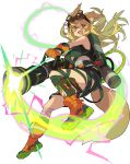 1girl animal_ear_fluff animal_ears artist_request backpack bag bandaged_leg bandages bangs belt blonde_hair blush boots breasts brown-framed_eyewear clothing_cutout dress electricity eyebrows_visible_through_hair fang fox_ears fox_girl fox_tail from_side full_body glasses gloves green_dress happy highres holding holding_weapon jumping long_hair looking_at_viewer looking_down lunalu_(world_flipper) medium_breasts non-web_source official_art open_mouth orange_eyes orange_footwear orange_gloves pouch proton_pack semi-rimless_eyewear short_dress sidelocks skin_fang sleeveless sleeveless_dress smile solo tail transparent_background underboob_cutout utility_belt v-shaped_eyebrows wavy_mouth weapon world_flipper