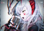 1girl arknights bangs black_gloves black_shirt chain_necklace commentary crying crying_with_eyes_open fingerless_gloves glitch gloves highres holding holding_microphone horns microphone nail_polish open_mouth portrait shirt solo star_tattoo tattoo tears ttk_(kirinottk) w_(arknights) white_hair yellow_eyes