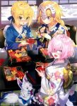 3girls ahoge artoria_pendragon_(all) bangs blonde_hair blue_eyes braid braided_ponytail cup fate/apocrypha fate/grand_order fate/stay_night fate_(series) glasses hair_between_eyes headpiece japanese_clothes jeanne_d'arc_(fate) jeanne_d'arc_(fate)_(all) kimono long_hair looking_at_viewer mash_kyrielight multiple_girls new_year official_art open_mouth pot pouring purple_hair ribbon saber shirabi short_hair sitting smile violet_eyes