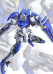 ayakaze_satsuki duel_gundam green_eyes gun gundam gundam_seed holding holding_gun holding_shield holding_weapon looking_down mecha mobile_suit no_humans science_fiction shield solo v-fin weapon white_background zoom_layer