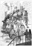 1girl 4boys absurdres canopy greyscale ground_vehicle gun hangar highres holding holding_gun holding_weapon long_hair looking_up mecha mobilesuit_alpha mobilesuit_beta monochrome motor_vehicle multiple_boys science_fiction side_arms side_arms_hyper_dyne skull_and_crossbones standing truck weapon yasuda_akira