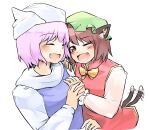 2girls ;d animal_ears blue_dress blush bow bowtie brown_hair cat_ears cat_tail chen dress fang ginnkei gold_trim hat highres jewelry letty_whiterock mob_cap multiple_girls multiple_tails one_eye_closed open_mouth pink_hair red_dress short_hair simple_background single_earring sketch smile tail tail_wagging touhou two_tails upper_body white_background yellow_neckwear yuri