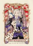 1boy 1other ace_of_spades animal armor bird card closed_mouth curtains dice english_text final_fantasy final_fantasy_vi highres holding_playing_card horizontal_stripes jacket jime_(sipopo2027) light_bulb long_hair long_sleeves male_focus owl pants pauldrons playing_card scar scar_across_eye scar_on_face setzer_gabbiani shoulder_armor smile solo striped tailcoat tarot the_magician_(tarot) traditional_media violet_eyes watercolor_(medium) white_hair