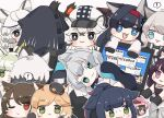 ! 1other 2boys 6+girls :3 :d aak_(arknights) ambiguous_gender animal_ear_fluff animal_ears arknights bangs black_cape black_footwear black_gloves black_hair black_headwear black_jacket blaze_(arknights) blonde_hair blue_eyes boots braid brown_background cabbie_hat cameo cape cat_ears chibi cliffheart_(arknights) closed_mouth colored_eyelashes computer cup doctor_(arknights) error_message eyebrows_visible_through_hair fang flower folinic_(arknights) fur-trimmed_cape fur_trim gloves green_eyes green_hair grey_eyes grey_hair hair_flower hair_ornament hairband hat haze_(arknights) hood hood_up hooded_jacket jacket jessica_(arknights) kal'tsit_(arknights) laptop leopard_ears long_hair lying melantha_(arknights) minigirl mint_(arknights) mousse_(arknights) mug multicolored_hair multiple_boys multiple_girls on_side one_eye_closed open_clothes open_jacket open_mouth parted_lips paw_gloves paws phantom_(arknights) ponytail pramanix_(arknights) purple_hair red_hairband redhead rosmontis_(arknights) schwarz_(arknights) shirt shoe_soles silverash_(arknights) simple_background skyfire_(arknights) smile someyaya spoken_exclamation_mark streaked_hair sweat swire_(arknights) thick_eyebrows very_long_hair violet_eyes white_hair white_headwear white_jacket white_shirt witch_hat yellow_eyes
