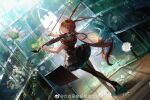 1girl absurdres amiya_(arknights) animal_ears arknights bare_arms black_dress black_footwear black_legwear blue_eyes brown_hair commentary_request dress dutch_angle flower frilled_dress frills from_behind full_body greenhouse hands_up high_heels highres instrument jewelry long_hair looking_at_viewer looking_back music music_stand neriash pantyhose playing_instrument rabbit_ears rhodes_island_logo ring sleeveless sleeveless_dress solo standing thumb_ring violin violin_bow weibo_logo weibo_username white_flower