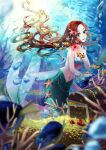 absurdres air_bubble bangs bare_shoulders blurry blurry_foreground bracelet breasts brown_hair bubble clownfish coin collarbone commentary_request coral eyebrows_visible_through_hair fish floating_hair gem gold green_eyes highres holding_gemstone jewelry light_rays long_hair looking_at_viewer medium_breasts mermaid mokoko_(moko_log) monster_girl navel original parted_bangs parted_lips pearl_hair_ornament ruby_(gemstone) shell shell_bikini sidelocks smile solo starfish starfish_hair_ornament stomach treasure_chest underwater