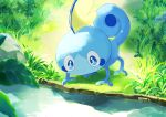 blue_eyes bright_pupils commentary_request creature day gen_8_pokemon grass highres light_rays lizard looking_down mojamoja_aa no_humans outdoors pokemon pokemon_(creature) rock sobble solo starter_pokemon water white_pupils