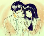 ahoge azuki_miho bakuman black_eyes black_hair blush couple formal happy holding_hands lenny-tree long_hair mashiro_moritaka necktie school_uniform short_hair smile suit