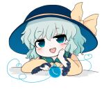 1girl bangs blouse blue_headwear blush bow chibi crystal eyebrows_visible_through_hair green_eyes green_hair hair_between_eyes hand_on_own_face hat komeiji_koishi long_sleeves looking_at_viewer md5_mismatch open_mouth rei_(tonbo0430) simple_background smile solo touhou white_background yellow_blouse yellow_bow yellow_sleeves