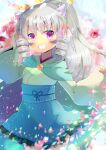 1girl bangs blue_skirt blurry blurry_background blush bow commentary_request demon_horns depth_of_field drill_hair eyebrows_visible_through_hair facial_mark frilled_skirt frills green_kimono grey_hair grin hair_between_eyes hair_bow hand_up high_ponytail horns japanese_clothes kimono kouu_hiyoyo long_hair long_sleeves looking_at_viewer original pinching_sleeves pink_bow ponytail short_eyebrows sidelocks skirt sleeves_past_wrists smile solo thick_eyebrows twin_drills very_long_hair violet_eyes wide_sleeves