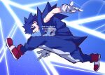 1boy blue_eyes blue_hair blue_theme finger_gun full_body gloves grin humanization jumping looking_at_viewer male_focus pants pose rapizore red_footwear sleeveless smile solo sonic_(series) sonic_adventure sonic_the_hedgehog spiky_hair white_gloves