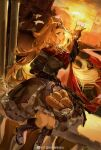 1girl absurdres alcohol animal_ears archetto_(arknights) arknights basket beer beer_glass bird black_dress black_footwear black_gloves blonde_hair blue_eyes boots bread breasts building bun_(food) cape circlet commentary_request dress dutch_angle elbow_gloves food from_side full_body gloves hand_up heterochromia highres infection_monitor_(arknights) knee_boots large_breasts long_hair neriash open_mouth outdoors red_cape red_eyes sitting solo strap sunset weibo_logo weibo_username
