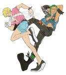 2boys alternate_costume areolae arm_tattoo armband armpits arms_behind_head arms_up bare_arms bare_legs bare_pectorals belt black_eyes black_pants blonde_hair blue_eyes blue_shorts blue_vest blush boots chest_tattoo cigarette closed_mouth denim_vest facial_hair full_body goatee green_hair grin hair_over_one_eye half-closed_eye highres holding holding_cigarette knee_up leg_hair looking_at_viewer male_focus mona_luffy multiple_boys one_eye_closed one_piece open_clothes open_vest outstretched_leg pants pectorals pink_shirt pose punk roronoa_zoro running sanji scar scar_across_eye shirt shoes short_hair short_sleeves shorts simple_background smile smoke stomach tan tattoo toned toned_male torn_clothes torn_pants v-shaped_eyebrows vest white_background