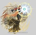 1girl ashera_(fire_emblem) attack belly_chain black_dress closed_mouth dress feather_hair_ornament feathers fire_emblem fire_emblem:_radiant_dawn fire_emblem_heroes full_body hair_ornament jewelry kita_senri long_hair magic official_art outstretched_arms red_eyes redhead