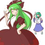 2girls :d ;q ahoge aqua_footwear bangs blue_skirt bow bright_pupils brown_bow brown_dress brown_ribbon closed_mouth cosplay costume_switch detached_sleeves dress eyebrows_visible_through_hair frilled_ribbon frills frog_hair_ornament front_ponytail gohei green_eyes green_hair hair_bow hair_ornament hair_ribbon hand_on_hip holding kagiyama_hina kagiyama_hina_(cosplay) kochiya_sanae kochiya_sanae_(cosplay) looking_at_another looking_at_viewer mizusoba multiple_girls nontraditional_miko one_eye_closed open_mouth ribbon shirt simple_background skirt smile snake_hair_ornament standing star_(symbol) tongue tongue_out touhou white_background white_pupils white_shirt wide_sleeves
