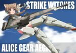 1girl absurdres ahoge alice_gear_aegis background_text bangs blue_eyes blue_sky bodysuit braid braided_ponytail brown_hair clouds commentary_request copyright_name cosplay english_text eyebrows_visible_through_hair flying grey_bodysuit gun hair_tie headset highres holding holding_gun holding_weapon huge_weapon long_hair looking_at_viewer lynette_bishop mecha_musume parted_lips single_braid sky smile solo strike_witches tricky_46 trigger_discipline weapon world_witches_series