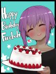 1girl :d ^_^ absurdres bangs black_border black_shirt blue_background blush border cake closed_eyes collarbone commentary_request dark-skinned_female dark_skin eyebrows_visible_through_hair facing_viewer fate/prototype fate/prototype:_fragments_of_blue_and_silver fate_(series) food fruit hair_between_eyes happy_birthday hassan_of_serenity_(fate) head_tilt highres holding holding_plate i.u.y long_sleeves open_mouth outside_border plate purple_hair round_teeth shirt sidelocks sleeves_past_wrists smile solo starry_background strawberry teeth upper_body upper_teeth