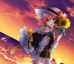1girl absurdres archbishop_(ragnarok_online) asuta_(kinakomoti300) bangs beach black_dress black_ribbon blush bow clouds commentary_request cowboy_shot cross dress dress_bow dutch_angle flower frilled_dress frilled_sleeves frills gradient_sky green_eyes hair_between_eyes hat hat_ribbon highres holding holding_bow horizon looking_at_viewer ocean official_alternate_costume open_mouth orange_sky pink_flower pink_hair purple_sky ragnarok_online ribbon short_hair sky smile solo sunflower sunset thigh-highs water white_headwear white_legwear yellow_bow