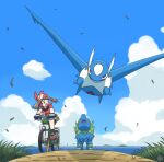 1girl bicycle brown_hair clouds collared_shirt commentary_request day from_below gen_3_pokemon gloves grass ground_vehicle latios leaves_in_wind legendary_pokemon manectric may_(pokemon) mutou610 open_mouth outdoors pokemon pokemon_(creature) pokemon_(game) pokemon_rse red_bandana red_shirt riding_bicycle shirt shoes short_sleeves sky socks tongue
